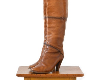 Vintage 1970's, Brown Leather, Knee High, Diamond Detailed, Wood-Heeled, Leather Soled Boots - 25% OFF CODE: bbsummersale