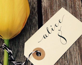 Hand-written calligraphy name tags, wedding favours or place cards.