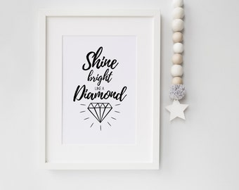 Wall Print, Quote, Wall art, Home Decor, Kids room, Black and White, Monochrome