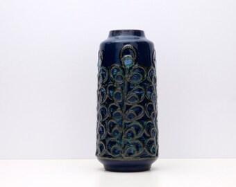 VINTAGE East German Fat Lava Vase by STREHLA Form 1402 Blue Volcanic Glaze