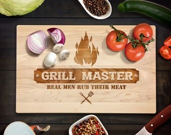 Fathers Day Gift Cutting Board Grill Master Real Men Rub Their Meat BBQ Dad Jokes Wood GrainGift Laser Engraved Bamboo Cutting Board  Gift