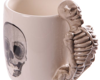 Coffee Cup Skeleton Design Shaped Handle Mug Height 11cm