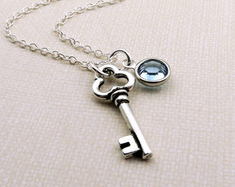 Silver Key Necklace, Skeleton Key, Personalized Key Jewelry, Silver Key Charm Necklace, Key Birthstone Necklace, Birthstone Jewelry