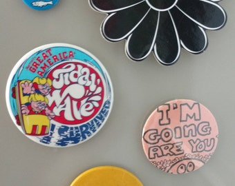 Set of magnets made from a vintage coaster and pins.