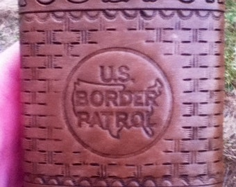 US Border Patrol Leather Wrapped 8 oz. Flask.