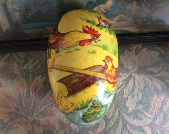Antique Paper Mache Candy Egg, made in Germany, marked inside, good condition