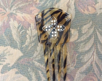 Art Deco Hair Comb, Faux Tortoise Celluloid and Rhinstones