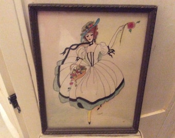 Art Deco Lady,  French Original Painting, ink and watercolor, signed, Authentic Art Deco Painting, Rare!