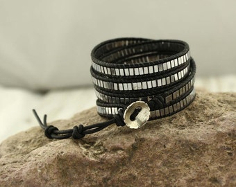 Five wraps black gallstone leather bracelet, leather braided bracelet, mens bracelet, long bracelet, wrap bracelet, S 136
