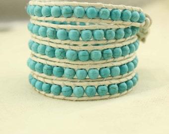 Turquoise braided bracelet, woven bracelet, gemstone bracelet, beaded bracelet, wrap bracelet, turquoise bracelet, leather bracelet, S 207