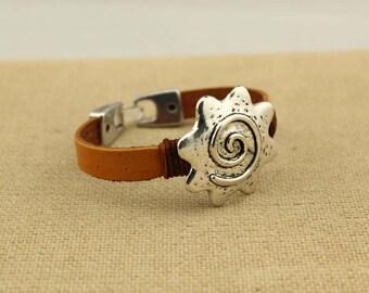 Sunflowers charm bracelet, leather bracelet, brown bracelet, friendship bracelet, wrap bracelet, S 346
