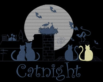 Embroidery file CATNIGHT 4 sizes