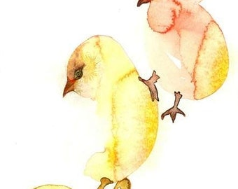 "Chicks watercolors paintings original, Baby Chicken Art, Small Easter wall art, nursery chicks art, Modern home Déco  Art  Print -9x13"""
