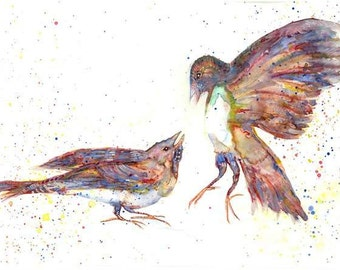 birds Original watercolor painting ,love birds painting, couple birds, A pair of birds painting