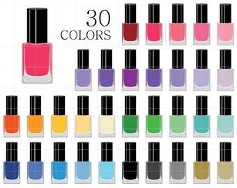 Nail Polish Clipart, Nail Polish Clip Art, Digital Nail Polish, Digital Nail Colors, Manicure Clipart, Make up, Cosmetics, Beauty, Glamour