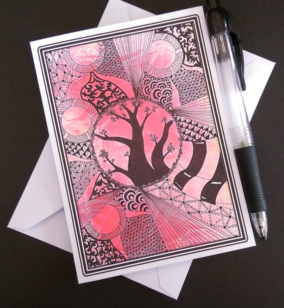 Zentangle Greeting Card Blank Note Card Zentangle