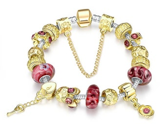 Gold & Milk Ruby Pandora Inspired Bracelet