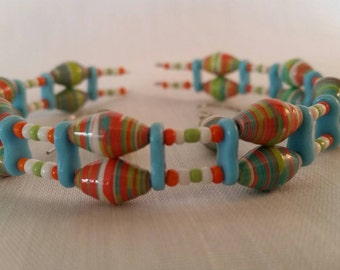Festive easter color dual layer ear ring and bracelet set very colorful