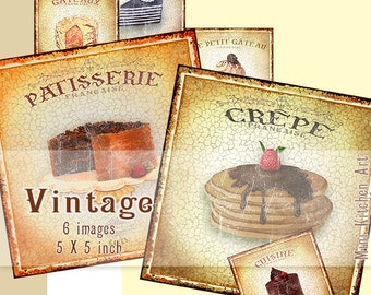 French Dessert Tags-French Collage-Cake Kitchen Art - Vintage French Labels Printable Decor - Collage Sheet-Instant Download