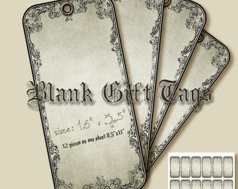 Blank Tags,#Printable Gift Tags,Hobby crafting,#VintageTags,Digital collage sheet Instant Download