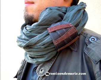 Scarf snood man gray cotton and cuff.