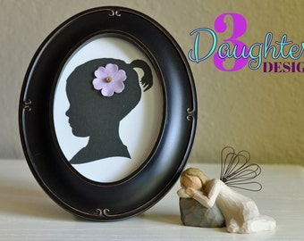 Add On Oval Frame for Custom Silhouette; Black or Champagne; Fits 5x7 inch Oval Silhouette; Fits 8x10 inch Oval Frame; Frame Only