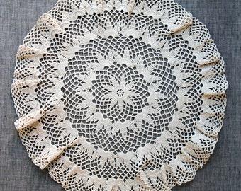 Vintage Crochet Doily, handmade ecru cotton lace, hand crocheted lace doily, vintage lace