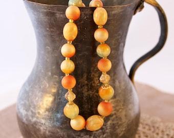 Vintage beaded necklace, 1960s bead necklace, orange beads, vintage jewelry, vintage beads