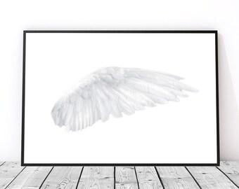 Angel Wing Wall Art, Bird Wing Art, Angel Wing Wall Decor, Angel Wings Print, Bird Feather Print, White Angel Wings White Feather Art