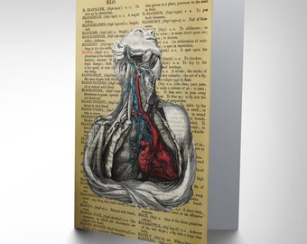 Greetings Card Birthday Gift Upcycle Dictionay Anatomy Blood CP2903