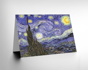 New Vincent Van Gogh Starry Night Old Master Painting Greetings Card CL1185