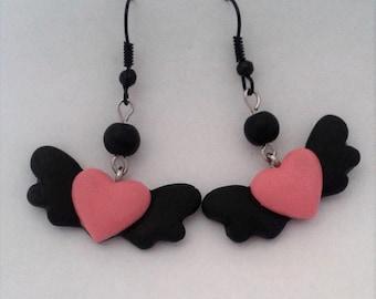 Black & Pink Flying Heart Earrings with Black Beads. Dark, Lolita. Pastel Goth, Grunge. Gothic. Creepy Cute.