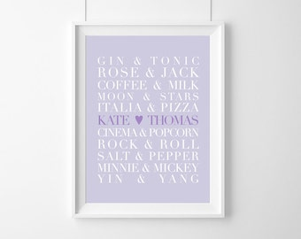 personalized poster/couple name/Perfect Pairs,WEDDING, Love Print,Customizable Wedding,bachelorette gift,Custom Names,Anniversary Gift