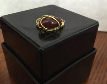 FREE SHIPPING! Brown/Gold Ring Wire Wrapped - Size 8.5