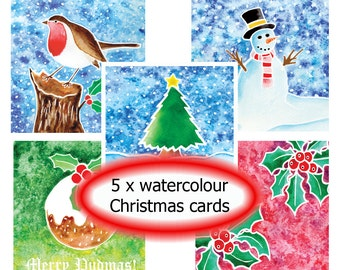 Water colour Christmas cards, 5 pack, xmas card pack, snowman christmas, robin christmas card, holly card, luxury xmas cards,