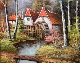 Oilpainting of a charming mill in the forest