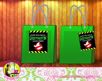 Ghostbuster Goodie Bag labels, Ghostbusters Party, Ghostbuster invitations, slimer, party favors, ghostbusters goodie bag tags