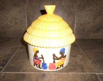 Vintage African Tribal Straw Hut Cookie Jar