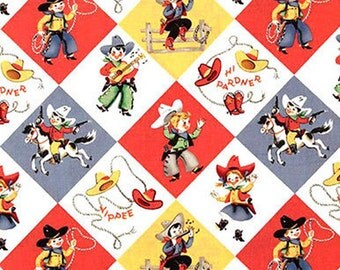 Michael Miller Retro Yippee - kiddie novelty cowboy cowgirl rodeo western Fabric - Per 1/2 metre - 100% Cotton