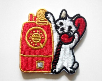 Cute Dial Phone Cat Kitten Iron On Patch