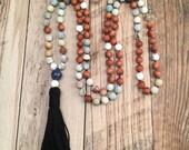 Amazonite and Sandalwood Mala Bead Necklace/Mala Necklace/108 Mala Beads/Meditation Necklace/Yoga Jewelry/Hand-Knotted