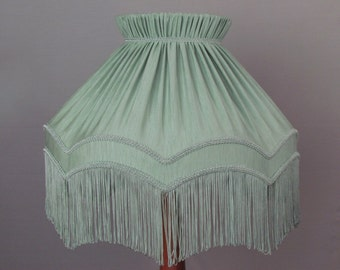"""Large green Ballerina lamp shade with 6 """" fringe. Other colours and sizes available"""