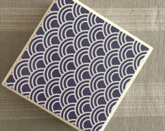 Set of 4 Blue and White Coasters