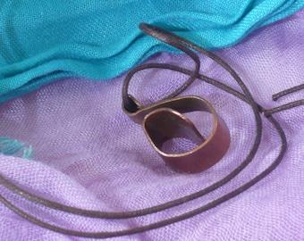 Copper adjustable pendant necklace