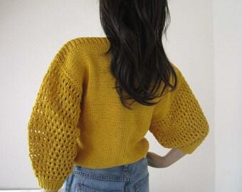 Vintage 70s cropped crochet oversize knit shirt S