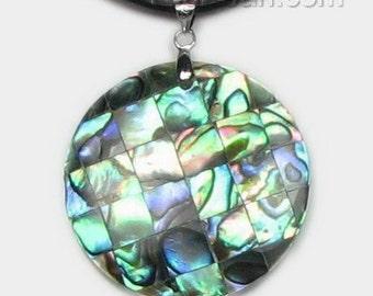 Abalone shell pendant, mosaic round shell pendant, sea shell pendant, paua shell pendant necklace, leather cord shell jewelry, ABA2230-P