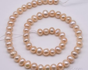 Pink natural pearls, 7-8mm quality freshwater potato pearls, genuine pearl wholesale, loose pearl beads for girl jewelry, FP400-PS