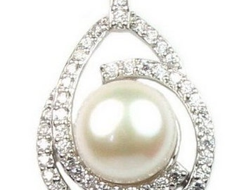 White pearl pendant, shinning crystal pearl pendant, sterling 925 silver pendant, freshwater pearl necklace for women, 10-11mm, F2460-WP