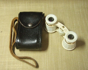 Vintage Opera Glasses Theater binoculars for lady with leather case Soviet Union Retro 60s