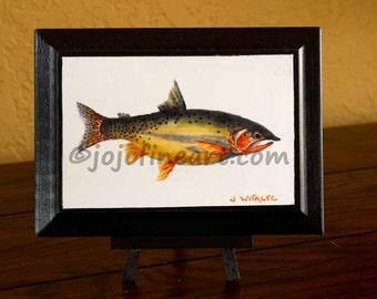 Yellow Fin original watercolor art painting of colorful fish Joanne Witalec  jojofineart.com